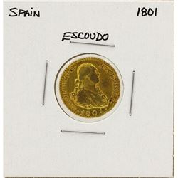 1801 Charles IV Spanish Escudo Gold Coin
