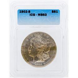 1902-S $1 Morgan Silver Dollar Coin ICG MS63PL