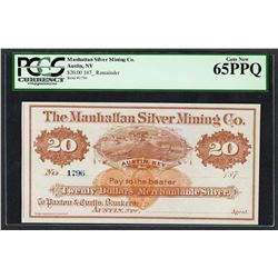 1870's $20 Manhattan Silver Mining Co. Obsolete Note PCGS Gem New 65PPQ