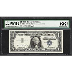 1957 $1 Silver Certificate Note Fr.1619 PMG Gem Uncirculated 66EPQ