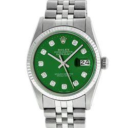 Rolex Mens 36mm Stainless Steel Green Diamond Datejust Wristwatch