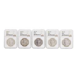 Lot of (5) 1896 $1 Morgan Silver Dollar Coins NGC MS63