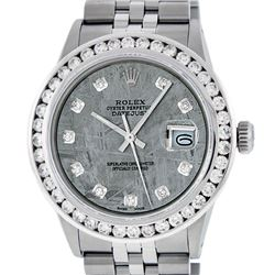 Rolex Mens Stainless Steel Meteorite 3.15 ctw. Diamond Datejust Wristwatch