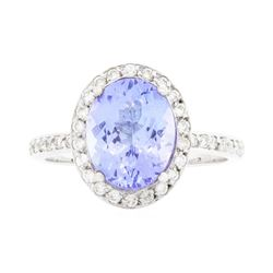 14KT White Gold Ladies 2.90 ctw Tanzanite and Diamond Ring