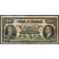 1938 $20 Bank of Montreal Note