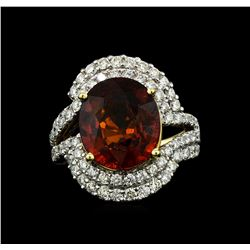 14KT Yellow Gold 7.50 ctw Malaya Garnet and Diamond Ring