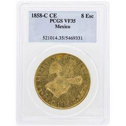 1858-C CE Mexico 8 Escudos Gold Coin PCGS VF35