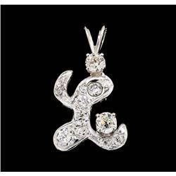14KT White Gold 0.80 ctw Diamond Pendant
