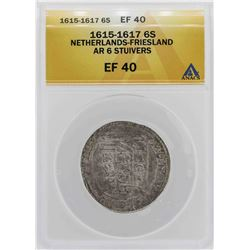 1615-1617 Netherlands-Friesland 6 Stuivers Coin ANACS XF40