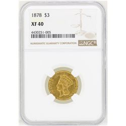 1878 $3 Indian Princess Head Gold Coin NGC XF40