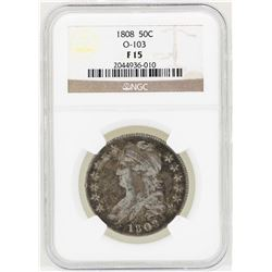 1808 Capped Bust Half Dollar Coin O-103 NGC F15