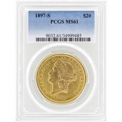 1897-S $20 Liberty Head Double Eagle Gold Coin PCGS MS61