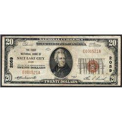 1929 $20 Salt Lake City Utah National Currency Note CH# 2059