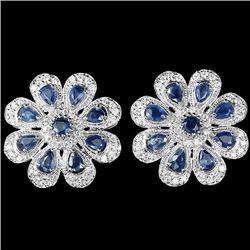 Natural Blue Sapphire 40.30 Carats Flower Earrings
