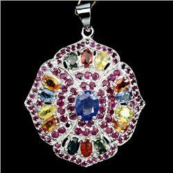 Natural Blue & Fancy Sapphire Ruby 57 Ct Pendant