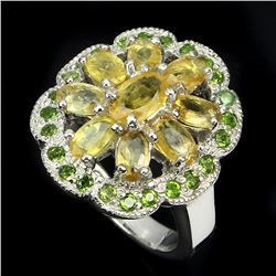Natural Yellow Sapphire Chrome Diopside  40 Carats Ring