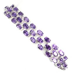 Natural Oval Intense Purple Amethyst Bracelet
