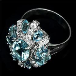 Natural  Sky Blue Topaz 30 Carats  Ring
