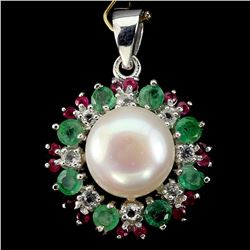 Natural Japanese Pearl Emerald Ruby White Topaz Pendant