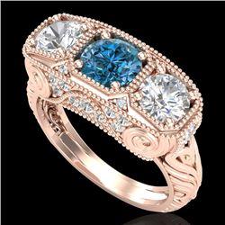 2.51 CTW Intense Blue Diamond Solitaire Art Deco 3 Stone Ring 18K Rose Gold - REF-345W5F - 37720