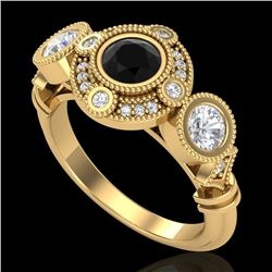 1.51 CTW Fancy Black Diamond Solitaire Art Deco 3 Stone Ring 18K Yellow Gold - REF-174M5H - 37711