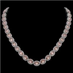 45.98 CTW Morganite & Diamond Halo Necklace 10K White Gold - REF-850N9Y - 40565