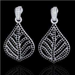 2.50 CTW Micro Pave Black & White VS/SI Diamond Earrings Designer 18K White Gold - REF-235K8W - 2114