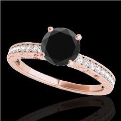 1.18 CTW Certified VS Black Diamond Solitaire Antique Ring 10K Rose Gold - REF-49N8Y - 34607