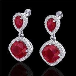 7 CTW Ruby & Micro Pave VS/SI Diamond Earrings Designer Halo 10K White Gold - REF-107K3W - 20207