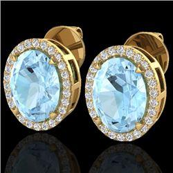 5.50 CTW Aquamarine & Micro VS/SI Diamond Halo Earrings 18K Yellow Gold - REF-96K4W - 20241
