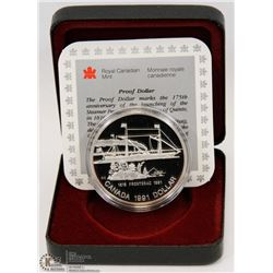 1991 CANADIAN PROOF SILVER DOLLAR IN DISPLAY