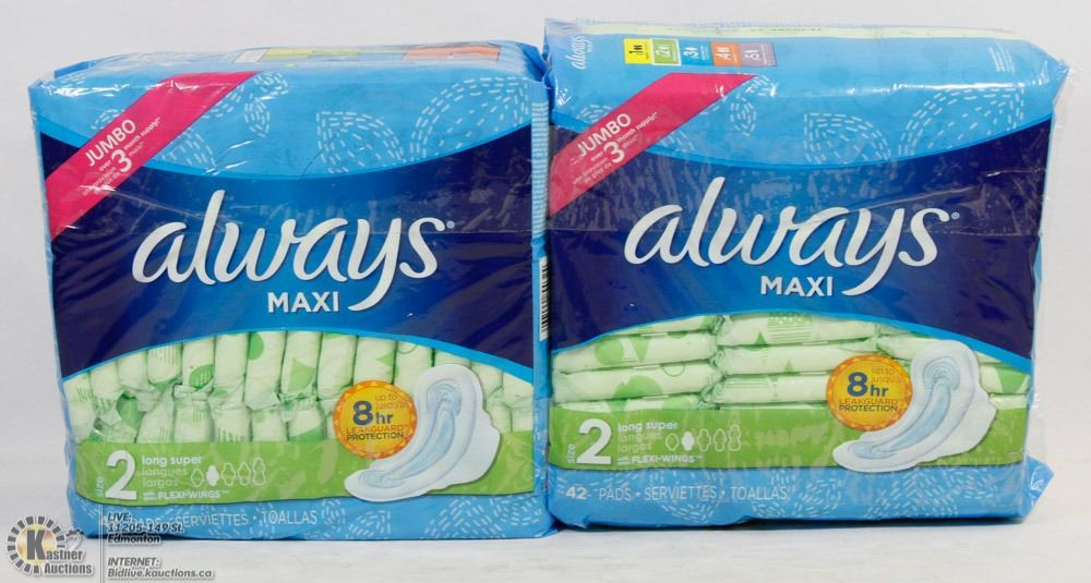 TWO PACKS OF ALWAYS MAXI PADS LONG SUPER