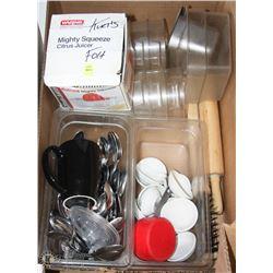 BOX OF KITCHEN UTENSILS, INSERTS, ROLLING PINS +