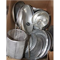 BOX OF ASSORTED KITCHEN FRYING PANS, FRYING
