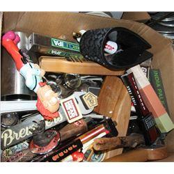 BOX OF ASSORTED GLASSWARE & KEG TAPS