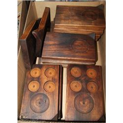 BOX OF SOLID WOOD BAR PLATTERS