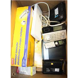 LAMINATOR, POWER BARS, ASSORTED ELECTRONICS