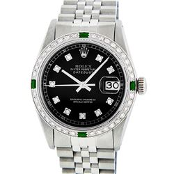 Rolex Mens Stainless Steel 1.20 Ctw Black Diamond And Emerald Datejust Wristwatc