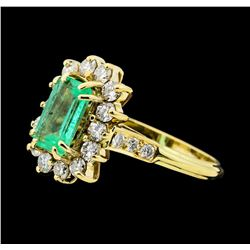 1.40 ctw Emerald and Diamond Ring - 14KT Yellow Gold