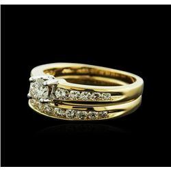14KT Yellow Gold 0.70 ctw Diamond Wedding Ring Set