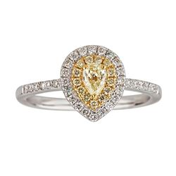 0.73 ctw Yellow and White Diamond Ring - 14KT White and Yellow Ring