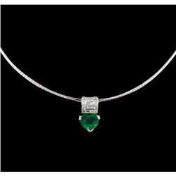 3.02 ctw Emerald and Diamond Pendant - 18KT White Gold