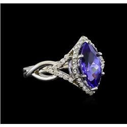 14KT White Gold 2.28 ctw Tanzanite and Diamond Ring