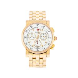 Michele Gold Plated Chronograph Midsize Watch