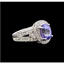 2.93 ctw Tanzanite and Diamond Ring - 14KT White Gold