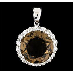 14.34 ctw Topaz and Diamond Pendant - 14KT White Gold