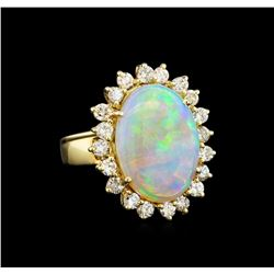 14KT Yellow Gold 6.16 ctw Opal and Diamond Ring