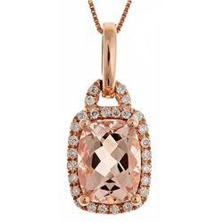 1.97 ctw Morganite and Diamond Pendant - 14KT Rose Gold