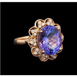14KT Rose Gold 8.58 ctw Tanzanite and Diamond Ring