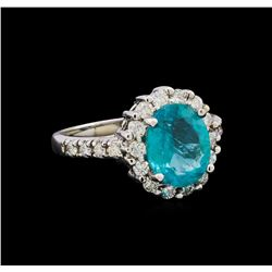 2.52 ctw Apatite and Diamond Ring - 14KT White Gold